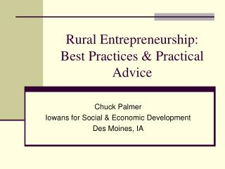 Rural Entrepreneurship: Best Practices & Practical Advice