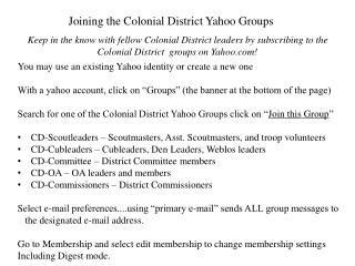 Joining the Colonial District Yahoo Groups