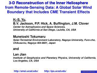 H.-S. Yu , B.V. Jackson, P.P. Hick, A. Buffington, J.M. Clover