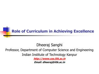 Role of Curriculum in Achieving Excellence