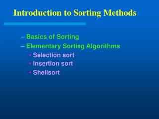 Introduction to Sorting Methods