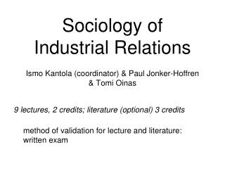 Sociology of Industrial Relations