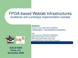 FPGA-based Weblab Infrastructures Guidelines and a prototype implementation example