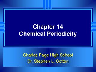 Chapter 14 Chemical Periodicity