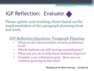 IGP Reflection:  Evaluate