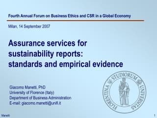 Fourth Annual Forum on Business Ethics and CSR in a Global Economy Milan, 14 September 2007