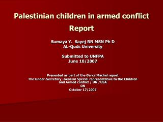 Palestinian children in armed conflict Report