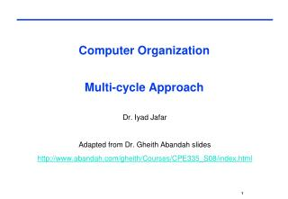 Computer Organization  Multi-cycle Approach