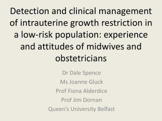 Dr Dale Spence Ms Joanne Gluck Prof Fiona  Alderdice Prof Jim Dornan Queen's University Belfast