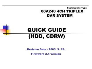 QUICK GUIDE (HDD, CDRW)