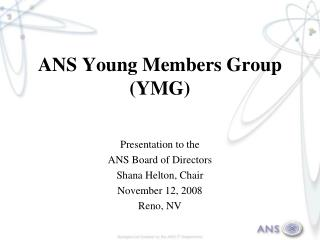 ANS Young Members Group (YMG)