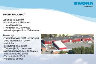 EWONA FINLAND OY Lähtötilanne 2009/09 Liikevaihto n. 2,2Me/vuosi Tulos tappiollinen