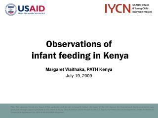 Observations of  infant feeding in Kenya