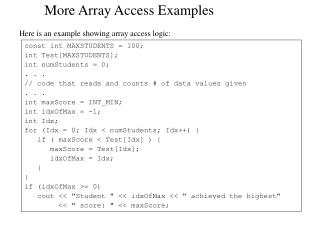 More Array Access Examples