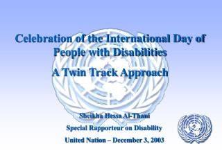 Celebration of the International Day of People with Disabilities  A Twin Track Approach