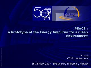 PEACE : a Prototype of the Energy Amplifier for a Clean Environment