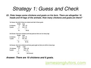 Strategy 1: Guess and Check