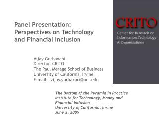 Panel Presentation:  Perspectives on Technology and Financial Inclusion
