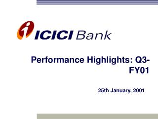 Performance Highlights: Q3-FY01