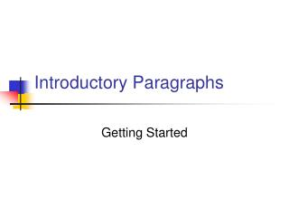Introductory Paragraphs