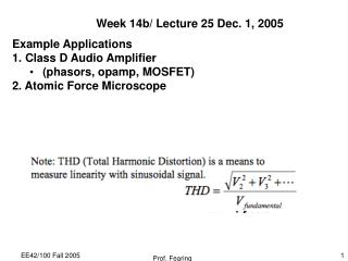 Week 14b/ Lecture 25 Dec. 1, 2005