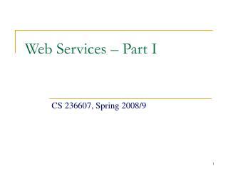 Web Services – Part I