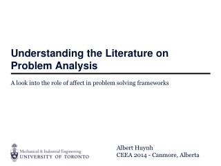 Understanding the Literature on Problem Analysis