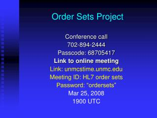 Order Sets Project