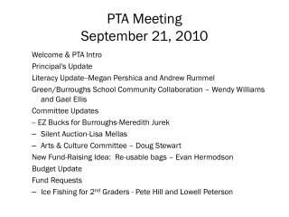 PTA Meeting September 21, 2010