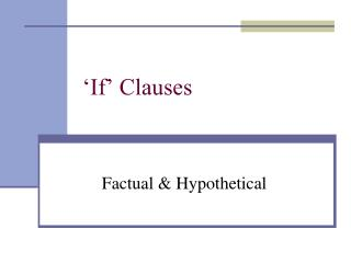 'If' Clauses
