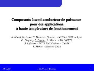 Composants à semi-conducteur de puissance  pour des applications