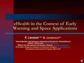 eHealth in the Context of Early Warning and Space Applications