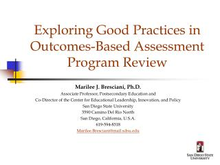 Exploring Good Practices in Outcomes-Based Assessment Program Review