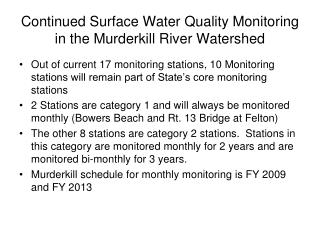 Continued Surface Water Quality Monitoring in the Murderkill River Watershed