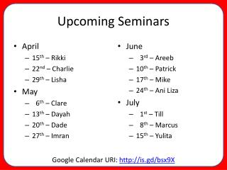 Upcoming Seminars