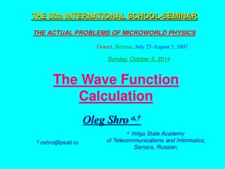 The Wave Function Calculation