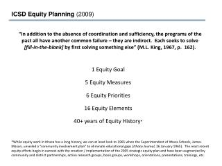 1 Equity Goal 5 Equity Measures 6 Equity Priorities 16 Equity Elements