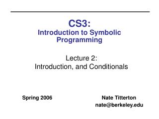 CS3:  Introduction to Symbolic Programming