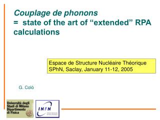 "Couplage de phonons                        =  state of the art of ""extended"" RPA calculations"