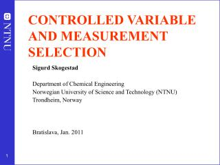 CONTROLLED VARIABLE AND MEASUREMENT SELECTION