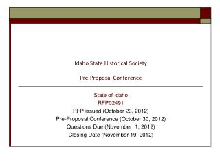 Idaho State Historical Society Pre-Proposal Conference