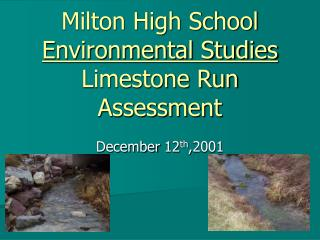 Milton High School Environmental Studies Limestone Run  Assessment