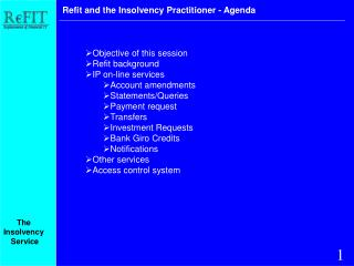 Refit and the Insolvency Practitioner - Agenda