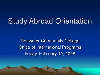 Study Abroad Orientation