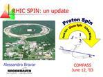 RHIC SPIN: un update