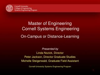 Master of Engineering   Cornell Systems Engineering On-Campus or Distance-Learning