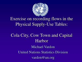 Michael Vardon United Nations Statistics Division vardon@un