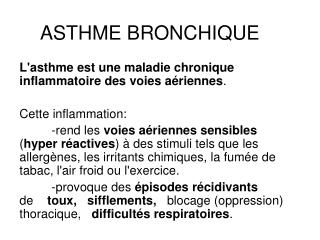 ASTHME BRONCHIQUE