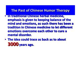 The Past of Chinese Humor Therapy