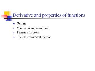 Derivative and properties of functions